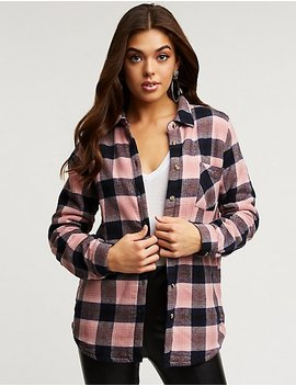Plaid Sherpa Lined Button Up Top by Charlotte Russe