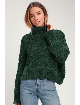 Smiling Sweetly Dark Green Chenille Knit Turtleneck Sweater by Lulu's