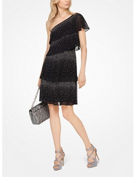 Embellished Chiffon One Shoulder Dress by Michael Michael Kors
