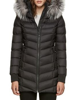 Quilted Alanis Jacket With Silver Fox Fur Hood by Soia & Kyo