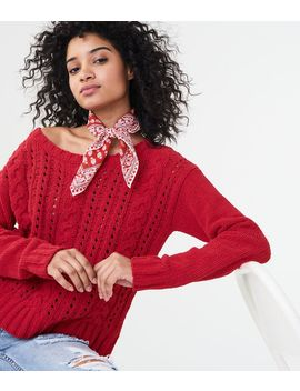 Solid Chenille Cable Sweater by Aeropostale
