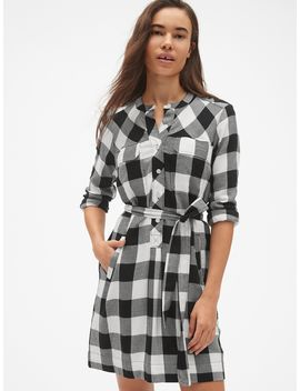 Plaid Flannel Tie Belt Shirtdress by Gap