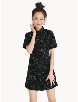 Mini Abstract Illustration Shirt Dress by Pomelo