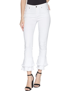Five Pocket Ruffle Frayed Hem Skinny Jeans In Ultra White by 1.State