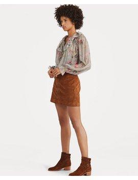 Buttoned Suede Miniskirt by Ralph Lauren