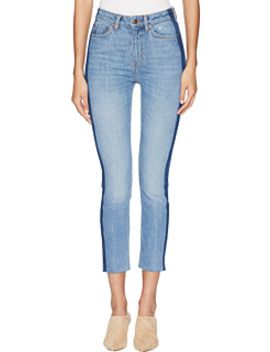 Lizy Jeans With An Unfinished Side Hoop In Blue by The Kooples