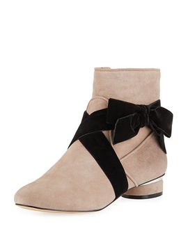 Finlee Low Heel Booties With Bow by Karl Lagerfeld Paris