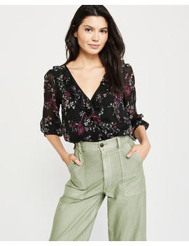 Wrap Front Ruffle Blouse by Abercrombie & Fitch