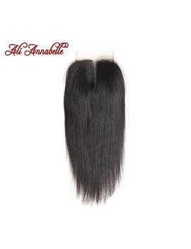 "Ali Annabelle Hair Brazilian Straight Lace Closure Middle Part Natural Color 4*4 Brazilian Remy Hair Closure 10 To 22"" by Ali Annabelle"