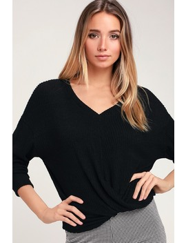Cozy Twist Black Twist Front V Neck Sweater Top by Lush