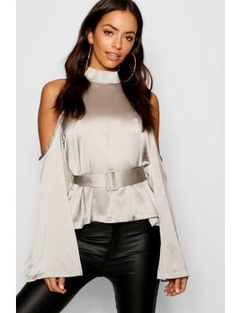 Satin Cold Shoulder Belted Top by Boohoo