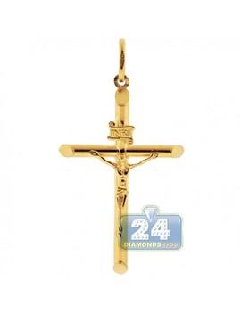 10 K Yellow Gold Jesus Christ Crucifix Cross Mens Pendant by 24diamonds