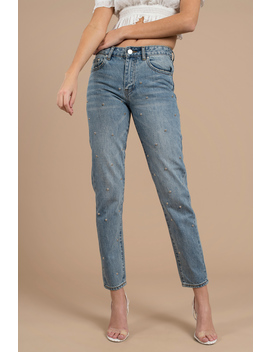 Roswell Medium Wash Studded Jean by Tobi