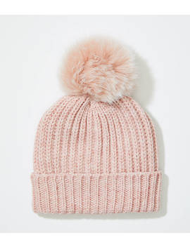 Ribbed Faux Fur Pom Pom Hat by Loft