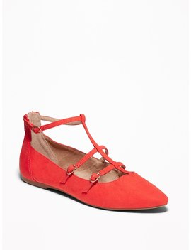 Faux Suede T Strap Pointed Toe Ballet Flats For Women by Old Navy