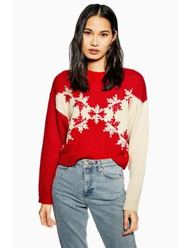 Christmas Snowflake Chevron Jumper by Topshop