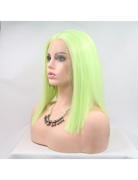 "Fantasy Beauty Lace Front Wigs 12"" Short Bob Light Green Wig Straight Green Color Heat Resistant Synthetic Wig by Fantasy Beauty"