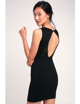 Party Talk Black Mesh Cutout Bodycon Dress by Lulus