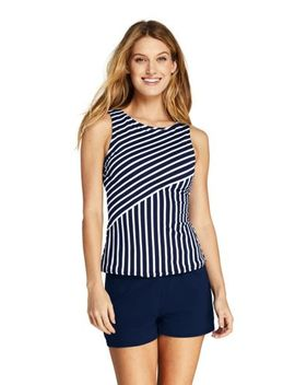 Women's High Neck Tankini Top Swimsuit Print by Lands' End