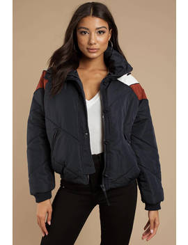 Free People Heidi Navy Ski Puffer Jacket by Tobi