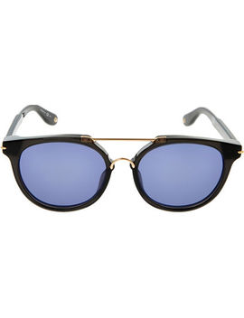 Black & Gold Tone Round Sunglasses by Givenchy