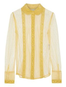 Lace Trimmed Point D'esprit Blouse by Red Valentino