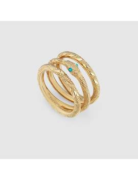 Three Band Ouroboros Ring In Yellow Gold by Gucci