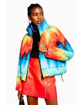 Rainbow Puffer Jacket by Topshop