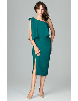 Green Midi One Shoulder Dress With A Cape by Lenitif