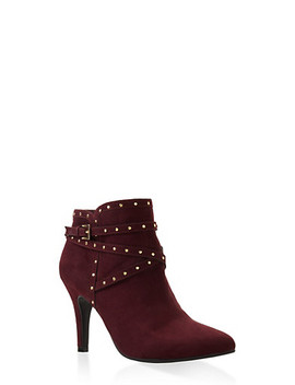 Studded Buckle Strap Mid Heel Booties by Rainbow
