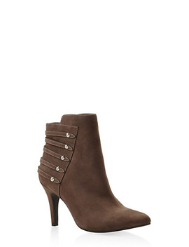 Studded Strap Mid Heel Booties by Rainbow