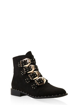 Buckle Strap Studded Booties by Rainbow