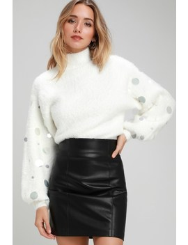 Arminta White Fuzzy Sequin Balloon Sleeve Sweater by Lulus
