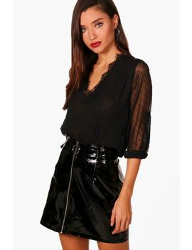 Spot Lace Neck Blouse by Boohoo
