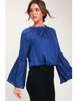 Villette Royal Blue Striped Flounce Sleeve Top by Lulus