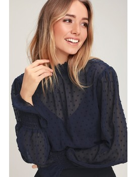 Darlena Navy Blue Swiss Dot Long Sleeve Top by Lulus