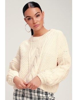 Adorable One Ivory Chenille Cropped Cable Knit Sweater by Lulu's