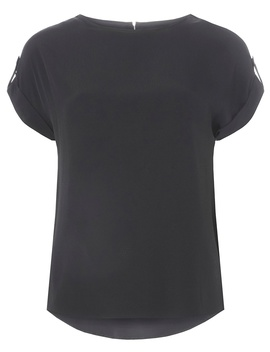 Black Button Sleeve Top by Dorothy Perkins