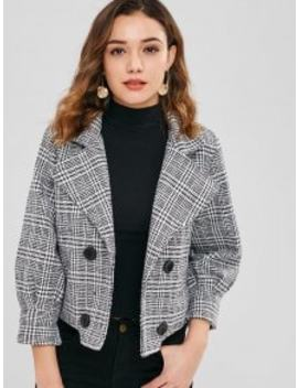 Houndstooth Double Breasted Wool Blend Coat   Black S by Zaful