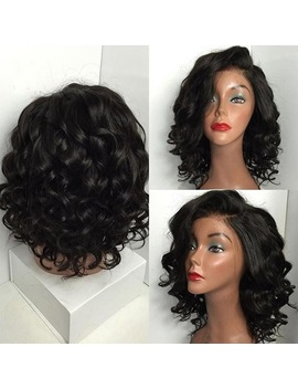Women's Fashion Black Brazilian Short Wavy Curly Parting High Temperature Fiber Wig 0623 by Haicar