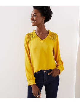 Lace Shoulder Ruffle Blouse by Loft