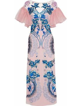 Pleated Organza Paneled Embroidered Silk Georgette Midi Dress by Temperley London