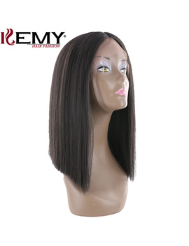 Yaki Straight Lace Front Synthetic Wig Natural Hairline Bob Wigs Middle Part Hair Wigs For Black Women Heat Resistant Fiber Hair by Kemy Hair Fashion