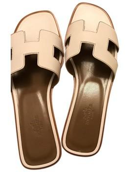 White Oran Sandals by Hermès