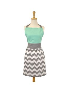 Teal & Gray Chevron Apron by Pier1 Imports