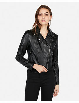 Embossed Cropped (Minus The) Leather Jacket by Express