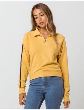 Full Tilt Sleeve Stripe Womens Half Zip Sweatshirt by Full Tilt