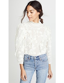 Long Sleeve Silk Embroidered Top by Rebecca Taylor
