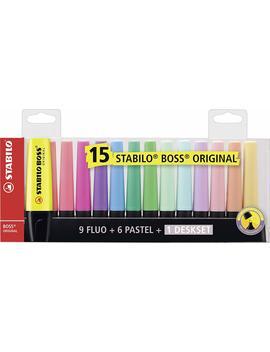 Stabilo Boss Original Desk Set   15 Colori Assortiti 9 Neon + 6 Pastel by Stabilo