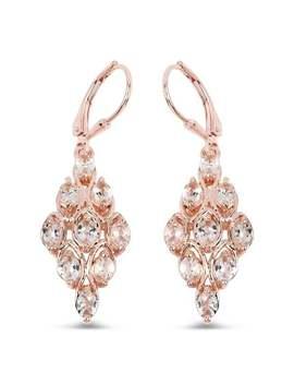 18 K Rose Gold Plated 2.70 Carat Genuine Morganite .925 Sterling Silver Earrings by Generic